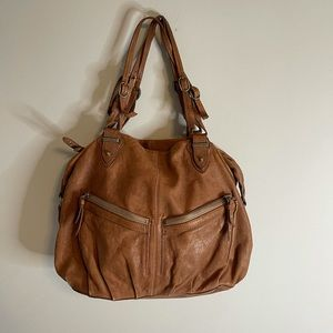 Olivia Harris Distressed Leather Hobo Bag Brown